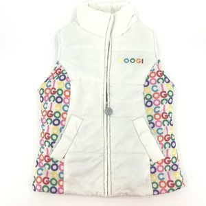 Coogi Womens Small White Puffer Bubble Vest Zip Up
